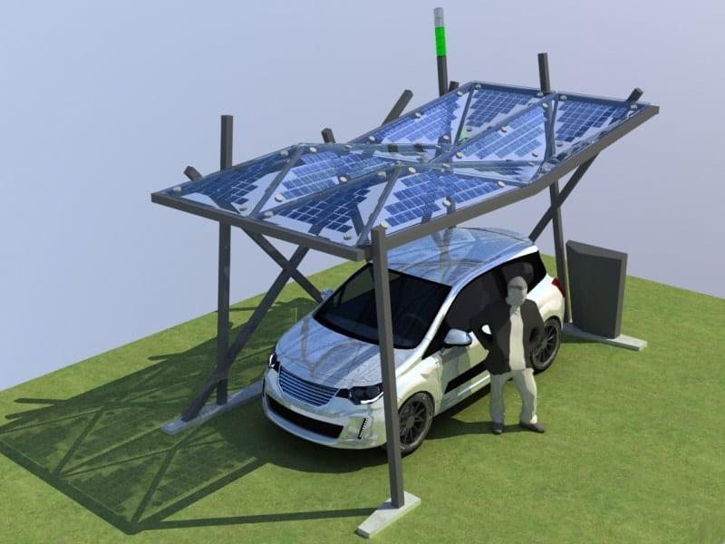 3-D-Zeichnung Stellplatzüberdachung mit Photovoltaik für E-Betankung für den Campus Lingen der Hochschule Osnabrück