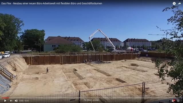 Screenshot YouTube-Video DAS_FLEX- Neubau einer neuen Büro-Arbeitswelt mit flexiblen Büro- und Geschäftsräumen